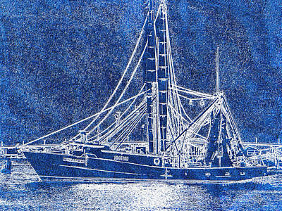 Drawing - Shrimp Boat - Dock - Coastal Dreaming by Barry Jones