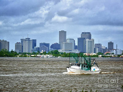 Photograph - Shrimp Boat Going By The City Of New Orleans by Jeanne  Woods