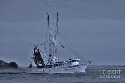 Photograph - Shrimp Boat In Cyan by Bob Sample