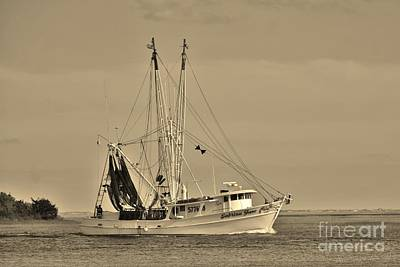 Photograph - Shrimp Boat In Sepia by Bob Sample