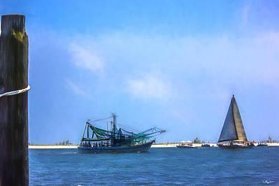 Photograph - Shrimp Boat - Sailboat - Coastal Day by Barry Jones