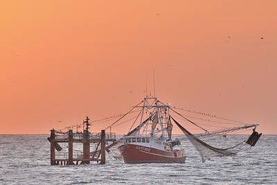 Photograph - Shrimp Boat Tied Off At Sea by Bradford Martin