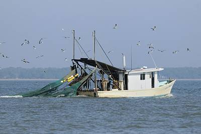 Photograph - Shrimp Boat Towing Nets  by Bradford Martin