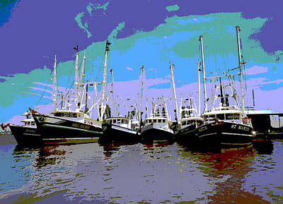 Shrimp Boats Art Print by Charles Shoup