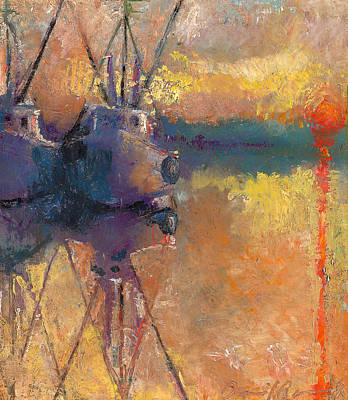 Painting - Shrimp Boats Docked At Sunset by Daniel Bonnell