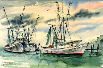 Shrimp Boats In The Keys Art Print