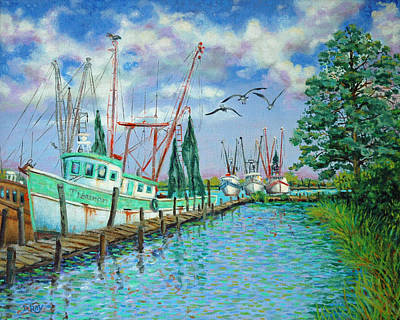 Painting - Shrimp Boats Up The Intracoastal by Dwain Ray