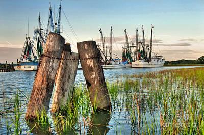 Crabbing Photograph - Shrimp Dock Pilings by Scott Hansen