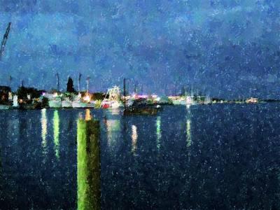 Shrimp Docks At Nite Art Print by Florene Welebny