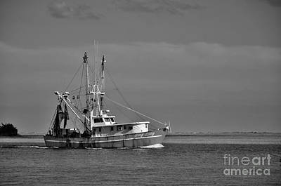 Photograph - Shrimper In Black And White by Bob Sample