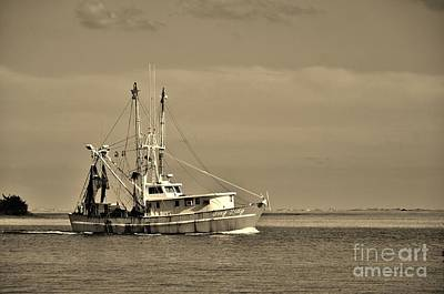 Photograph - Shrimper In Sepia by Bob Sample