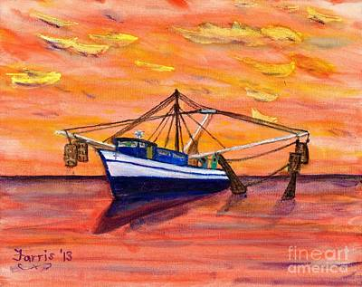 Painting - Shrimper Sunset by Larry Farris