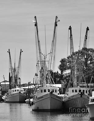 Photograph - Shrimpers In Black And White by Bob Sample
