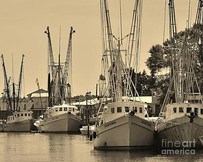 Photograph - Shrimpers In Sepia by Bob Sample