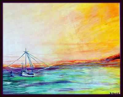 Sunrise Over Water Painting - Shrimpers Sunrise by Deborah Naves