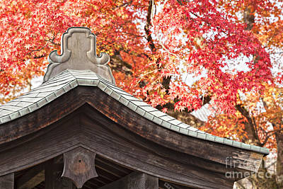 Photograph - Shrine Roof And Autumn Leaves Arashiyama Kyoto by Colin and Linda McKie