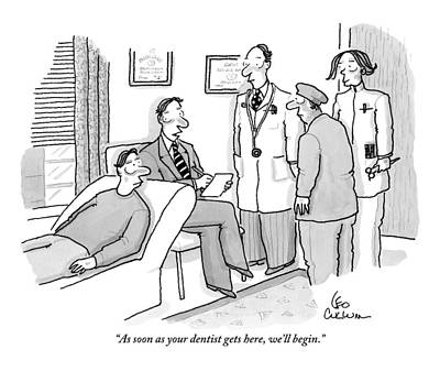 Shrink To Patient On Couch. A Doctor Art Print by Leo Cullum