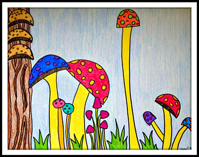 Drawing - Shrooms by Lora Mercado