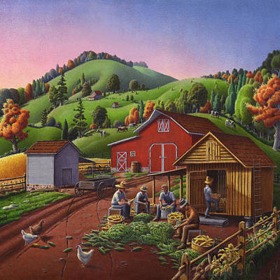 Corn Painting - Shucking And Storing Corn In The Corn Crib Farm Landscape - Square Format by Walt Curlee