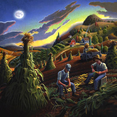 Thomas Benton Painting - Shucking Corn Harvest Sunset Country Farm Life Landscape - Square Format by Walt Curlee