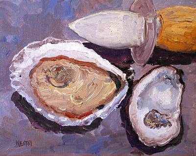 Half Shell Painting - Shucking by Keith Wilkie