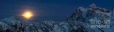 Shuksan Moonrise Panorama Art Print by Mike Reid
