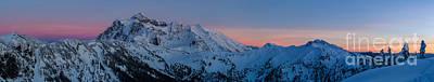 Shuksan Sunset Panorama Art Print by Mike Reid