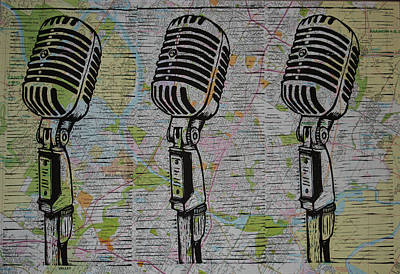 Shure 55s On Map Art Print