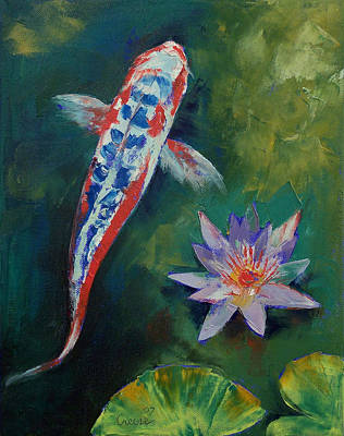 Shusui Koi And Water Lily Print by Michael Creese