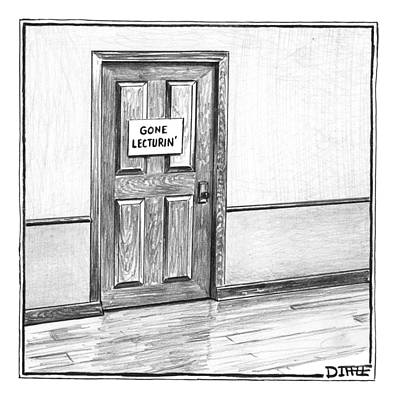 Professor Photograph - Shut Door In A Hallway With A Sign That Read Gone by Matthew Diffee