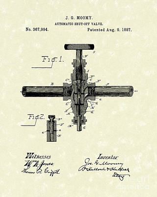 Shut-off Valve 1887 Patent Art Art Print