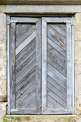 Photograph - Weathered Wooden Shutters by Bob Slitzan