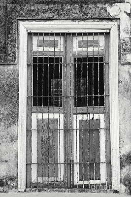 Photograph - Shutters In Black And White Yaxcolpoil Mexico by John  Mitchell
