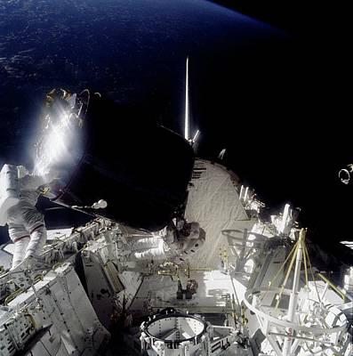 Palapas Wall Art - Photograph - Shuttle Captures Palapa B-2 Satellite by Nasa/science Photo Library.