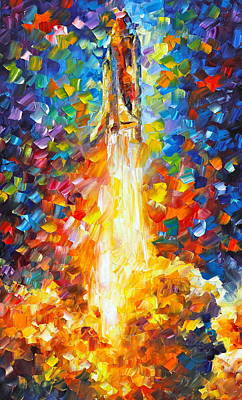 Space Ships Painting - Shuttle Discovery  by Leonid Afremov