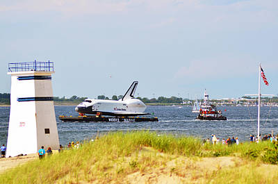 Photograph - Shuttle Enterprise Passing Breezy Point Watchtower by Maureen E Ritter