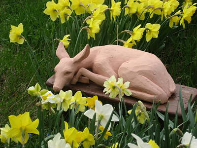 Sculpture - Shy Fawn Hiding In The Daffodills by Deborah Dendler