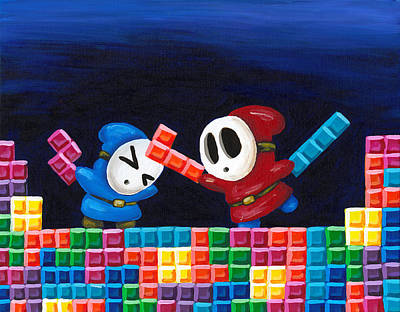 Shy Guys Playing Tetris Original by Katie Clark