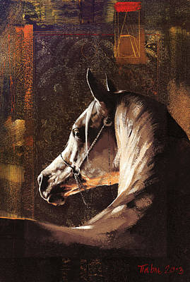 Retro Look Painting - Shy Horse by Dragan Petrovic Pavle