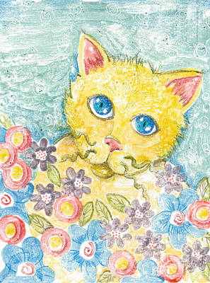 Printmaking Mixed Media - Shy Kitty Among The Flowers by June Beard