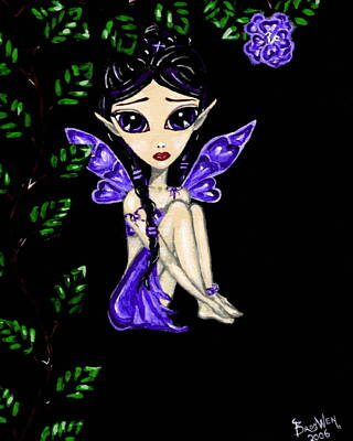 Tinkerbell Painting - Shy Violet Fairy by Bronwen Skye