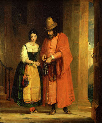 Newton Painting - Shylock And Jessica From The Merchant Of Venice by Litz Collection