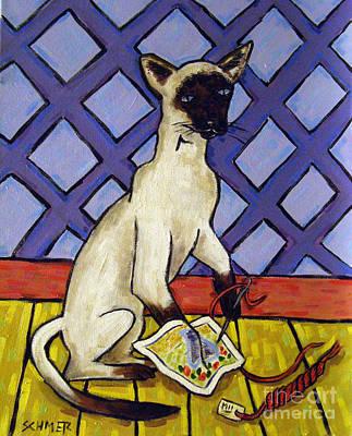 Needlepoint Painting - Siamese Cat Doing Needlepoint by Jay  Schmetz