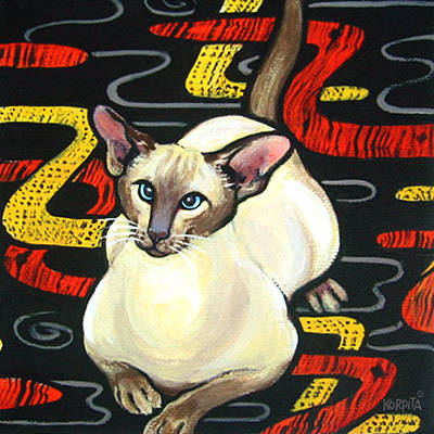 Painting - Siamese Cat On A Cushion by Rebecca Korpita