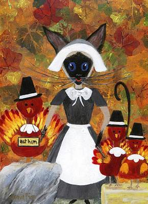 Painting - Siamese Queen Of Thanksgiving by Jamie Frier
