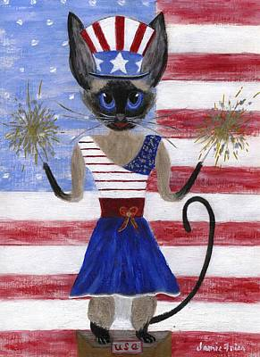 Painting - Siamese Queen Of The U S A by Jamie Frier