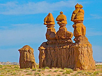 Siamese Triplet Goblins On Carmel Canyon Trail In Goblin Valley State Park-utah Original by Ruth Hager