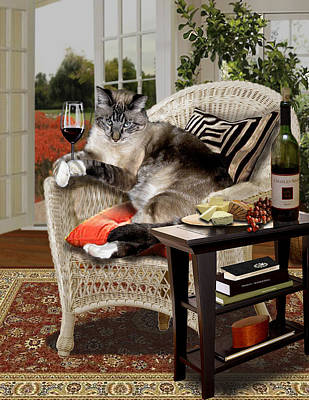 Siamese Cat In Wicker Shaire Sipping Wine Painting - Funny Pet A Wine Bibbing Kitty  by Regina Femrite