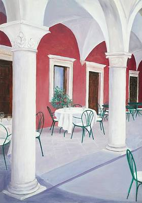 Outdoor Cafe Painting - Sibenik Cafe Croatia by Jan Matson