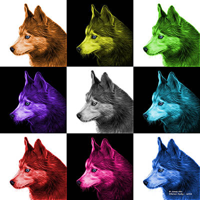 Painting - Siberian Husky Art - 6048 - V2 - M by James Ahn